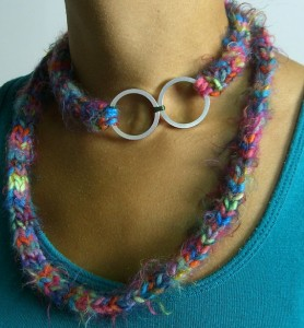Knit Necklace/Hard Drive piece by Tiny Ant