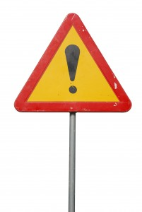 temporary construction sign isolated on white background